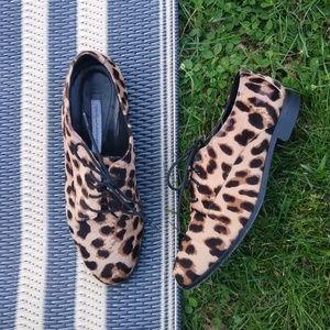 Diane Von Furstenberg Leopard Calf Hair Oxfords